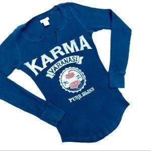 LUCKY BRAND Karma Varanasi V-Split Waffle Thermal